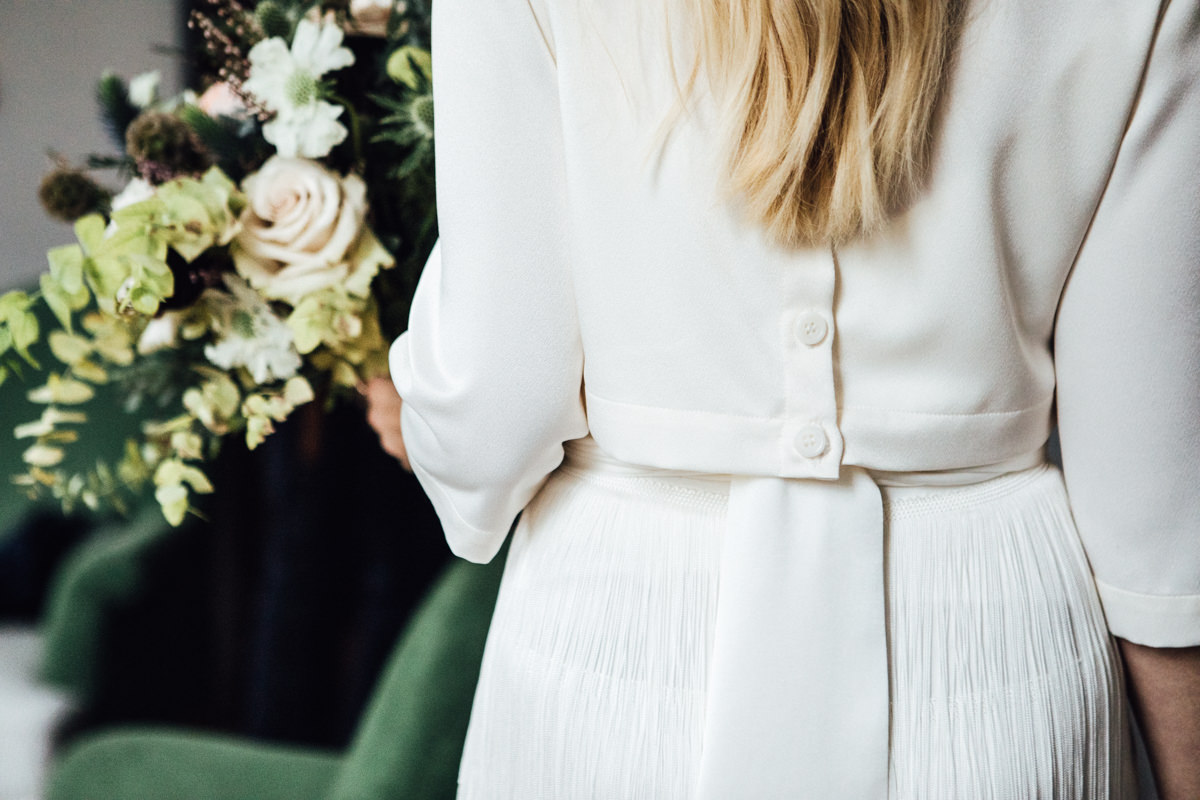 Charlie Brear bridal separates at Artist Residence London hotel | Marylebone Town Hall wedding